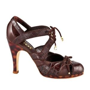 Dior Brown Lace Up Platform Heels Size 40 US 10